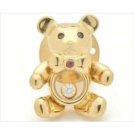 Chopard 750 Yellow Gold Happy Diamond Sapphire Ruby Bear Motif Brooch