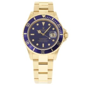 Rolex Submariner 16618 18K Yellow Gold Blue Dial Automatic 40mm Mens Watch 1989