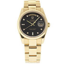 Rolex Day-Date 118208 18K Yellow Gold Black Dial wDiamond 36mm Mens Watch 2001