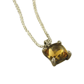 David Yurman Chatelaine 925 Sterling Silver with Champagne Citrine & Diamonds Pendant Necklace