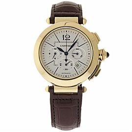 Cartier Pasha W3109951 Yellow Gold & Leather Silver Dial Automatic 42mm Mens Watch
