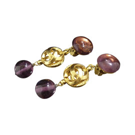 Chanel Gold-Tone Colored Stone Swing Coco Mark Clip-On Earrings
