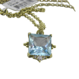 Judith Ripka 18K Yellow Gold Blue Topaz & 0.105ct. Diamonds Pendant Necklace