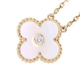 Van Cleef & Arpels 18K Rose Gold Diamond Mother of Pearl Alhambra Pendant Necklace