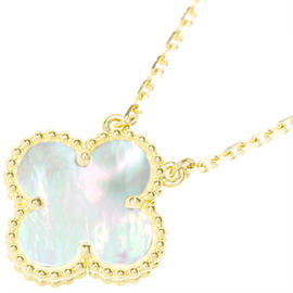 Van Cleef & Arpels 18K Yellow Gold Mother of Pearl Alhambra Necklace