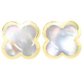Van Cleef & Arpels 18K Yellow Gold Alhambra Mother of Pearl Pierced Earrings