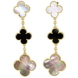 Van Cleef & Arpels 18K Yellow Gold Pearl Onyx Magic Alhambra Earrings