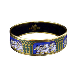 Hermes Gold Tone Metal, Cloisonne and Blue Horse Cheval Enamel Bangle Bracelet
