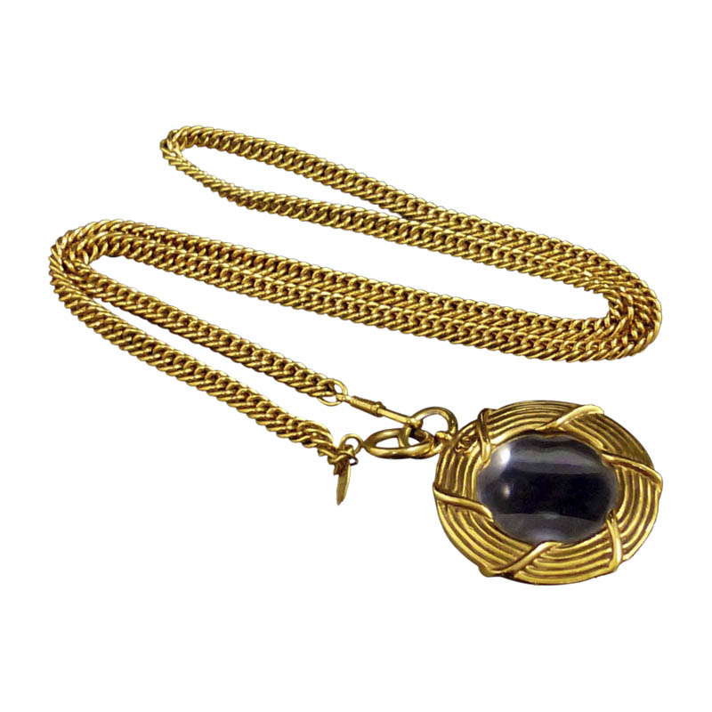 "Image of ""Chanel Gold-Tone Metal Coco Mark Glass Loupe Pendant Necklace"""