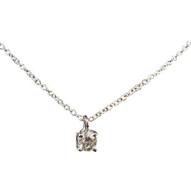 Tiffany & Co. 950 Platinum Solitaire 0.2ct. Diamond Necklace