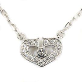 Cartier 18K White Gold Diamond C Heart Pendant Necklace