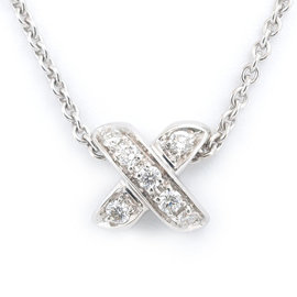 Tiffany & Co. 18K White Gold & Diamond Signature Cross Necklace
