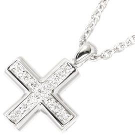 Bulgari 18K White Gold Diamond Greek Cross Pendant Necklace