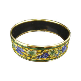 Hermes Gold Tone Metal & Cloisonne Enamel Bangle Bracelet