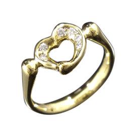 Tiffany & Co. 18K Yellow Gold & Diamond Heart Ring Size 6