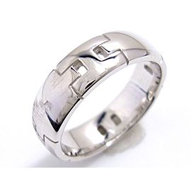 Hermes 18K White Gold Hercules Ring Size 5