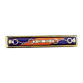Hermes Gold-Tone Cloisonne Brooch Pin