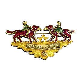 Hermes Gold-Tone Red Green Dog Motif Brooch Pin