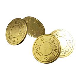 Hermes Serie clou de selle selye Gold Tone Cufflinks