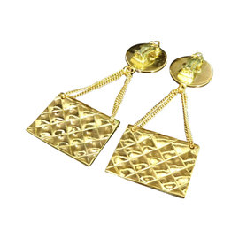 Chanel Gold-Tone Coco Mark CC Logo Matelasse Bag Clip-On Earrings