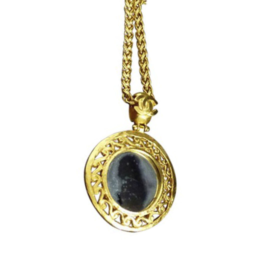 "Image of ""Chanel Coco Mark Gold-Tone Metal Coco Mark Glass Mirror Pendant"""