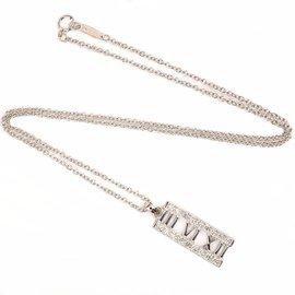 Tiffany & Co. 18K White Gold Diamond Atlas Pendant Necklace