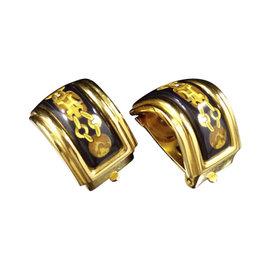 Hermes Gold-Tone Cloisonné Clip-On Earrings