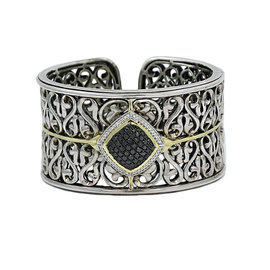 Charles Krypell 18K Yellow Gold and 925 Sterling Silver Black & White Diamond Bangle