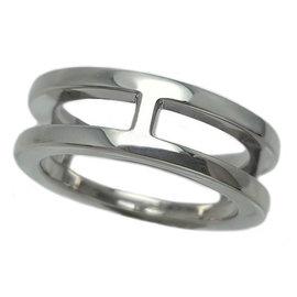 Hermes Ariane 750 White Gold Ring Size 6.25