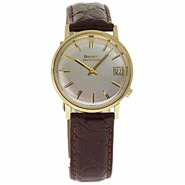 Bulova Accutron 218D 686 Yellow Gold & Brown Leather Quartz 34mm Mens Watch