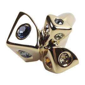 Louis Vuitton Gold Tone Brass Trunkies Swarovski Crystal Ring Size 5