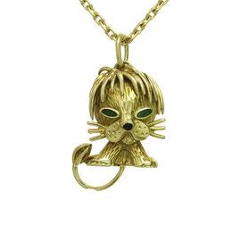 Van Cleef & Arpels 18K Yellow Gold Emerald Lion Pendant Necklace