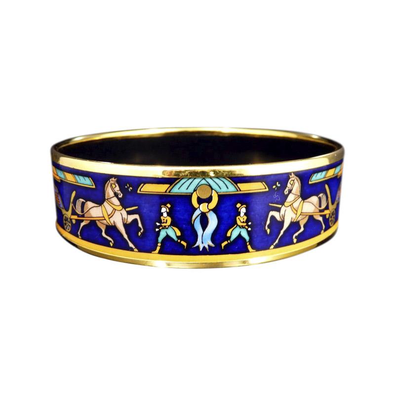 """Image of """"Hermes Gold Tone Metal Cloisonne Navy Horse Enamel Bangle Bracelet"""""""