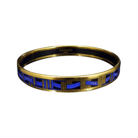 Hermes Gold Tone Metal, Cloisonne and Blue Ribbon Enamel Bangle Bracelet