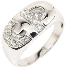 Bulgari 18K White Gold & Diamond Parentesi Ring Size 8.75