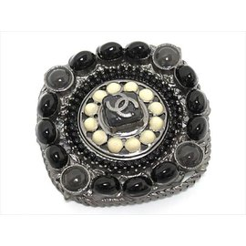 Chanel A11C Brass Black Gray White Pin Brooch
