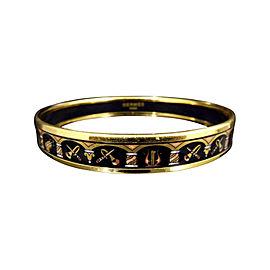 Hermes Gold Tone Metal, Cloisonne and Enamel Instrumentals Bangle Bracelet