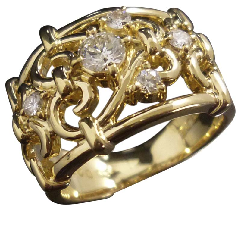 "Image of ""Celine 18K Yellow Gold & Diamond Ring Size 4.5"""