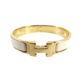 Hermes Clic Clac Gold Tone Metal and Enamel PM H Bangle Bracelet