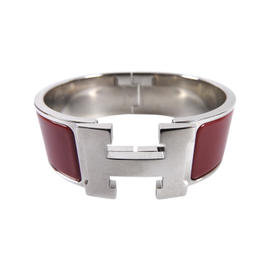 Hermes Clic Clac Silver Tone and Red Enamel GM H Bangle Bracelet