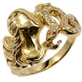 Carrera y Carrera 18K Yellow Gold Diamond & Ruby Ring Size 8.5