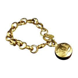 Chanel Coco Mark Gold-Tone CC Logo Chain Bracelet