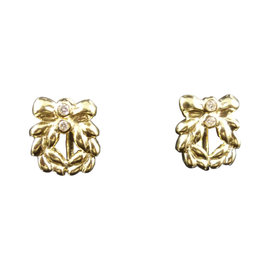 Christian Dior 18K Yellow Gold & Diamond Earrings