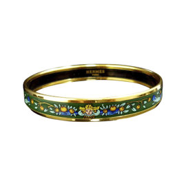 Hermes Gold Tone Metal, Cloisonne and Green Enamel Bangle Bracelet