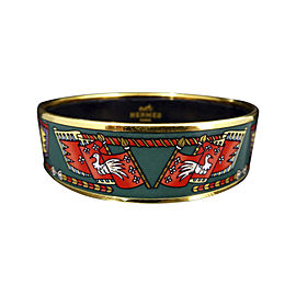 Hermes Gold Tone Metal Cloisonne Green Enamel Bangle Bracelet