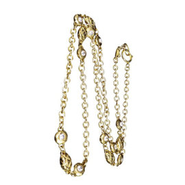 Chanel Gold-Tone Metal with Rhinestones Chain Pendant Necklace