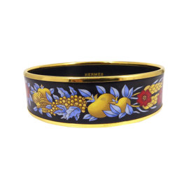 Hermes Gold Tone Metal Cloisonne Enamel Black Flower Bangle Bracelet