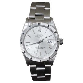 Rolex Oyster Perpetual Date 15210 Stainless Steel Engine Turned 34mm Mens Watch