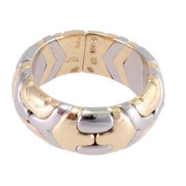 Bulgari 750 White & Yellow Gold Parentesi Ring Size 6.25