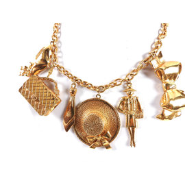 Chanel CC Icon Mademoiselle Gold Tone Metal Charm Chain Necklace